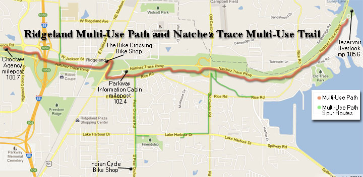 Ridgeland Multi-Use Path and Natchez Trace Multi-Use Trail ... on madison bus map, madison park map, madison river map, madison bike trail map, madison street map, madison bike route map,
