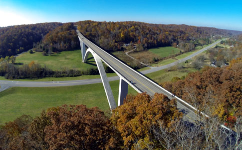 View from above the Double Arch Bridge - Natchez Trace Fall Foliage