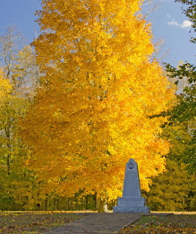 War of 1812 Memorial - Tennessee Natchez Trace Fall Foliage