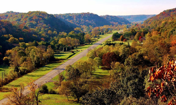 View from Double Arch Bridge - Tennessee Fall Foliage