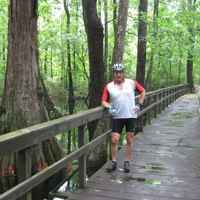 Mississippi - Cyclist photo op at Cypress Swamp