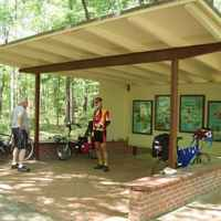 Mississippi - Cyclists taking a break at the Myrick Creek Exhibit Shelter.