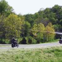 Motorcycles approaching the Leiper's Fork exit.
