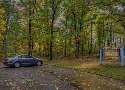 Parking area in early fall at Sunken Trace.