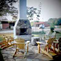 One of the patio areas at Farmhouse Sanctuary.