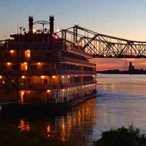 View of the riverboat docked at Natchez Under-the-Hill.