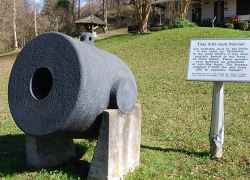This 13-inch Mortar was probably used by the Union. In the early 1900s it was seen partially buried in the levee on Davis Island. These mortars were mounted on schooners or box-like boats. The mortars weighted 17,000 pounds and fired 200 pound explosive '