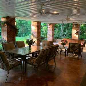 Covered Patio overlooking the Gardens.