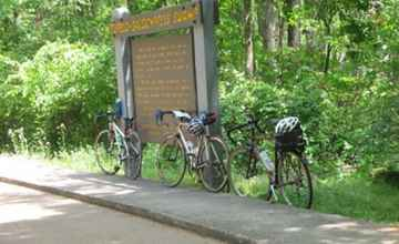 Cyclists taking a break to check out Cypress Swamp.