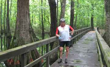 Cyclist photo op at Cypress Swamp.