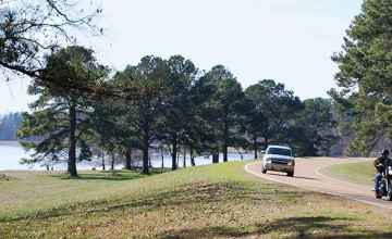 The Natchez Trace Parkway next to the Ross Barnett Reservoir.