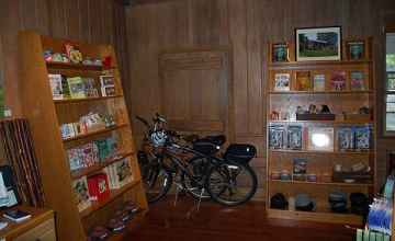 Inside visitors will find information and displays about the parkway, books, and souveniers.