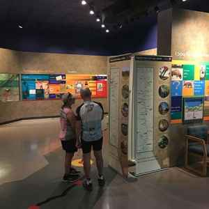 Cyclists checking out the displays at the Parkway Visitor Center in Tupelo, MS.