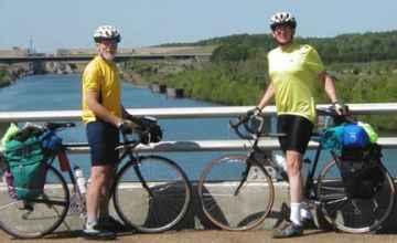 Two cyclists from the Oxon Hill Bike Club at the Tennessee-Tombigbee Waterway.