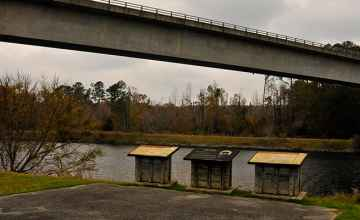 The Natchez Trace Parkway crosses the Tennessee-Tombigee Waterway on the Jamie L. Whitten Bridge.