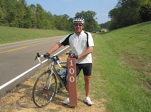 Cyclist looking north at milepost 100 on the Natchez Trace Parkway. a2e9a2ef8