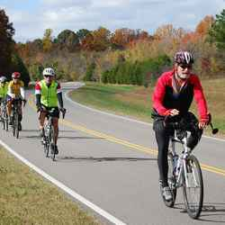 Group of cyclists on the last day of their south to north Natchez Trace bicycle ride.