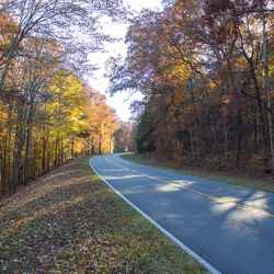 Fall foliage on the Natchez Trace Parkway between Hohenwald and Lawrenceburg, Tennessee.