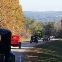 Fall foliage and antique cars around milepost 315 and Freedom Hills.