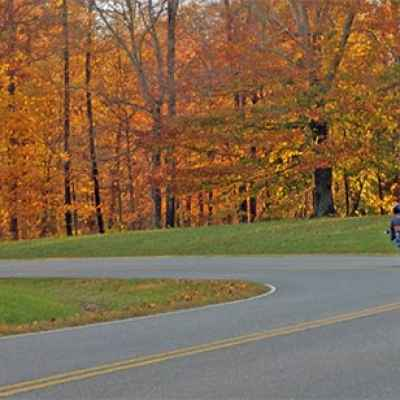 Tennessee - Riding the curves at the north end of the Natchez Trace Parkway.