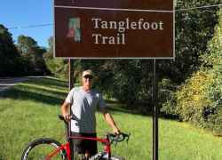 Tanglefoot Trail sign at the Houston / MS Hwy 8 exit (milepost 230)