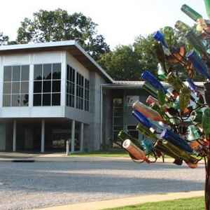Bottle tree in front of the Mississippi Crafts Center.