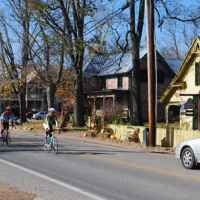 Cyclists ride the back roads in and around Leiper's Fork.