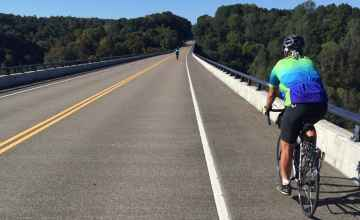 Riding across the Double Arch Bridge - Natchez Trace Parkway