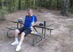 Taking a rest at one of the many picnic areas.
