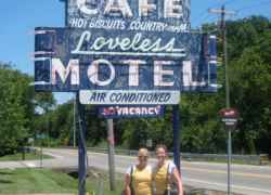 Here we are at the Loveless Cafe at the beginning of the trip.