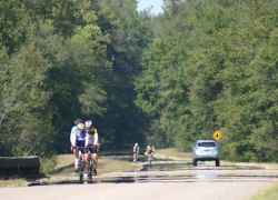 Cyclists heading south in Alabama at milepost 340.