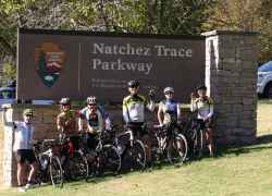 Group of cyclists ready to start biking the parkway from the Northern Terminus.