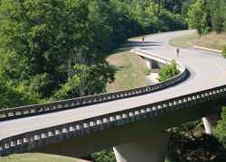 Bicycles thru the S curve just north of the Leiper's Fork exit.