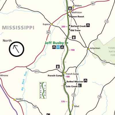 French Camp Mississippi Map - Natchez Trace Parkway