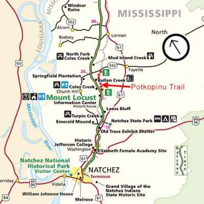Lorman - Natchez Mississippi Map - Natchez Trace Parkway